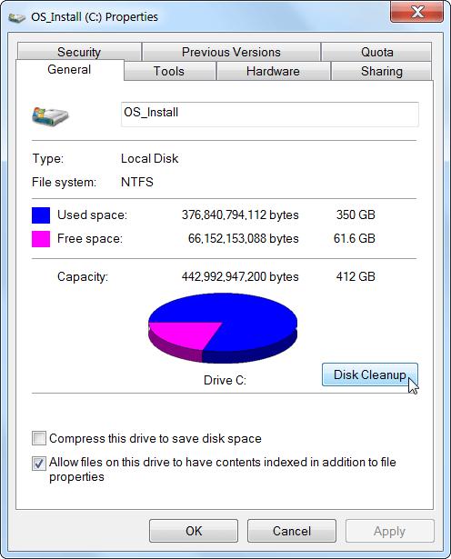 روش برای آزاد سازی فضای هارد دیسک در ویندوز7