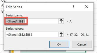تغییر نام سری دادهها در اکسل