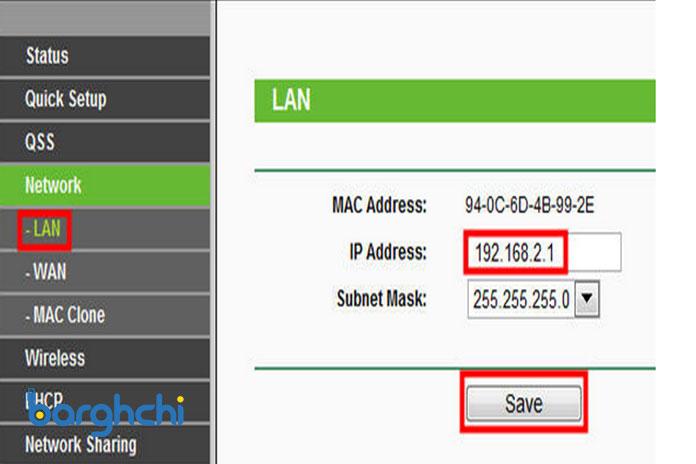 آدرس IP برای LAN روتر