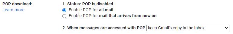 در بخش POP download روی گزینه Enable POP forall mail کلیک کنید