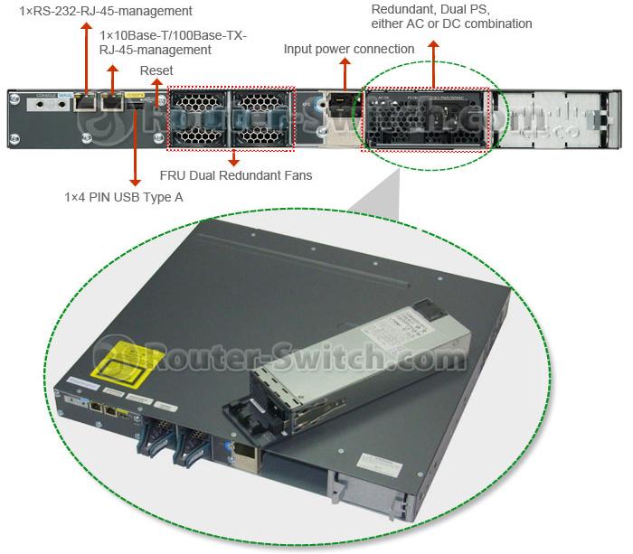 سوئیچ شبکه 24 پورت سیسکو مدل WS-C3560X-24T-S