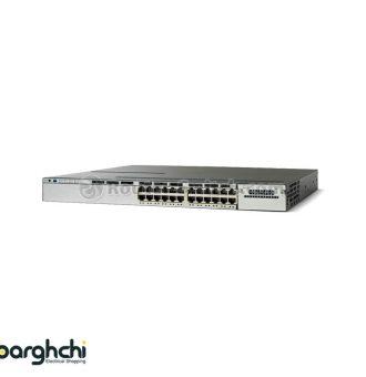 سوئیچ شبکه 24 پورت سیسکو مدل WS-C3750X-24P-S   فروش تجهیزات شبکه   سوئیچ شبکه سیسکو   cisco switch   لیست قیمت سوییچ 24 پورت WS-C3750X-24P-S