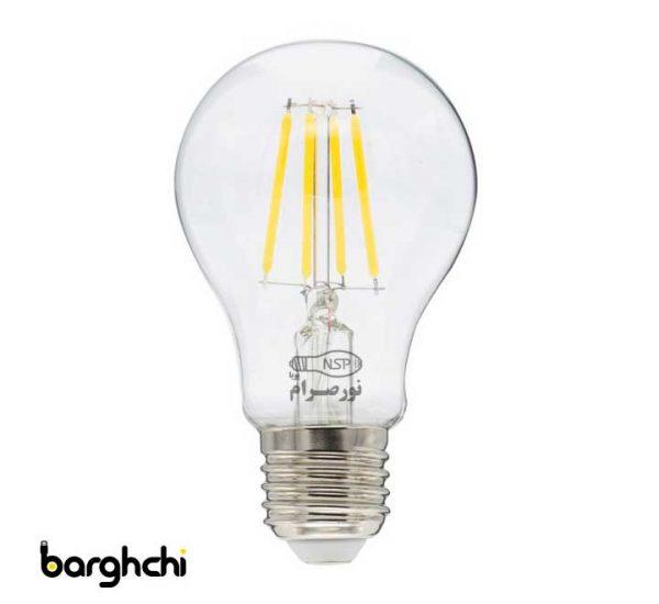 لامپ LED حبابی مهتابی فیلامنتی نور صرام 6 وات