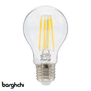 لامپ LED حبابی مهتابی فیلامنتی نور صرام 8 وات