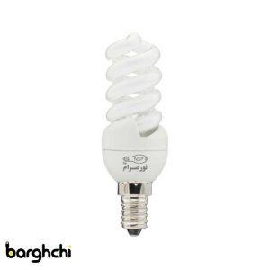 لامپ کم مصرف تمام پیچ آفتابی نور صرام 9 وات