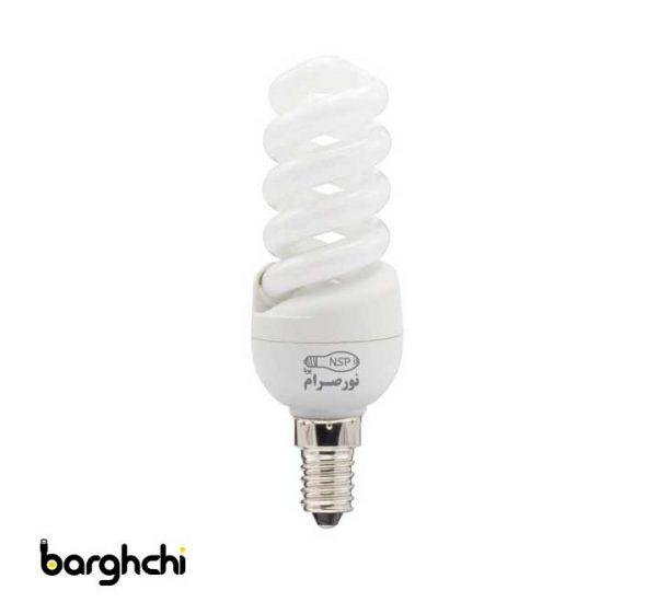 لامپ کم مصرف تمام پیچ آفتابی نور صرام 11 وات