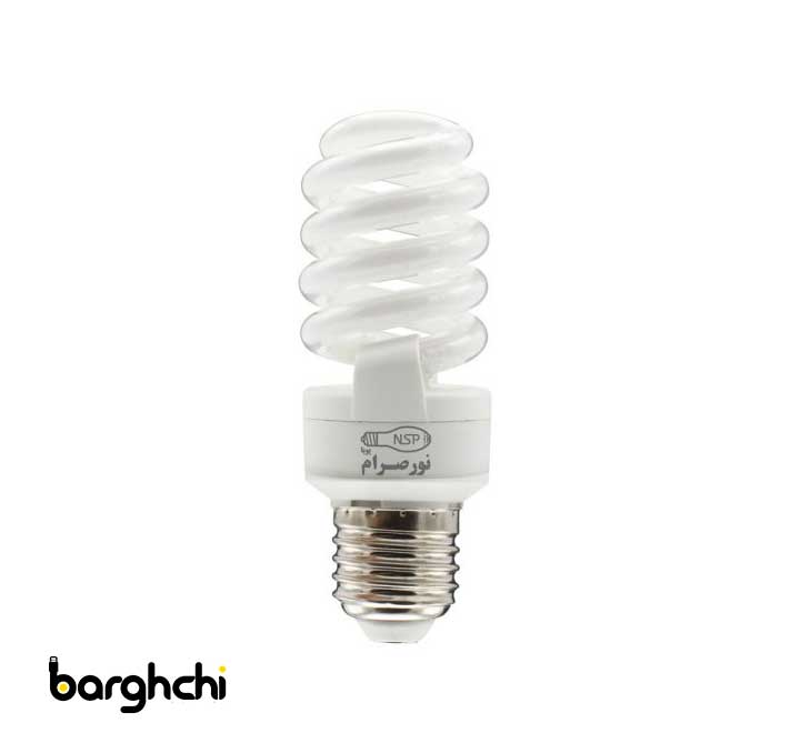 لامپ کم مصرف تمام پیچ مهتابی T2 نور صرام 15 وات