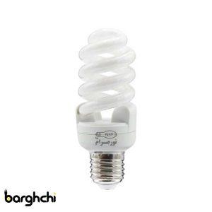 لامپ کم مصرف تمام پیچ مهتابی T3 نور صرام 15 وات