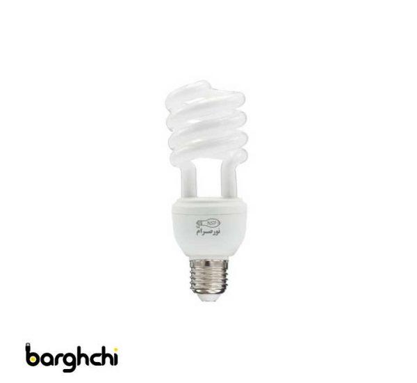 لامپ کم مصرف نیم پیچ مهتابی نور صرام 20 وات