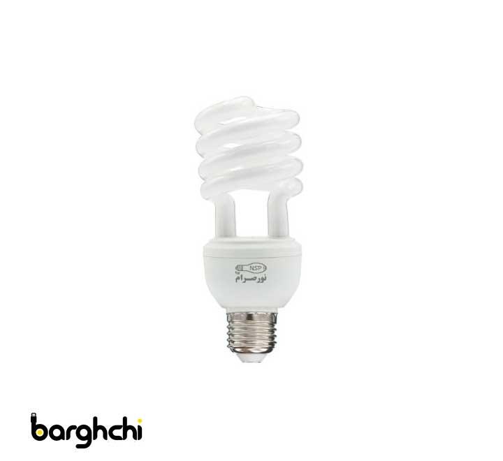 لامپ کم مصرف نیم پیچ مهتابی نور صرام 23 وات