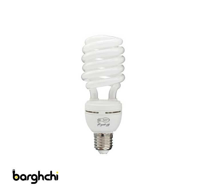 لامپ کم مصرف نیم پیچ مهتابی نور صرام 40 وات