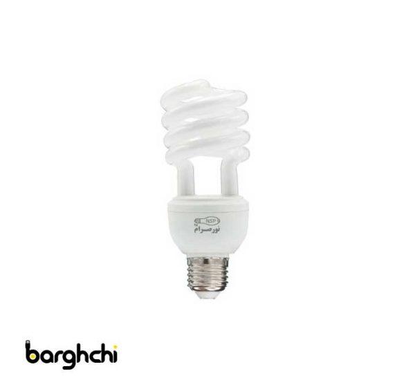 لامپ کم مصرف نیم پیچ سبز نور صرام 23 وات