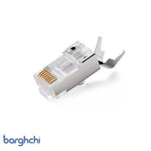 سوکت شبکه امپ Cat7 SFTP شانه دار نقره ای
